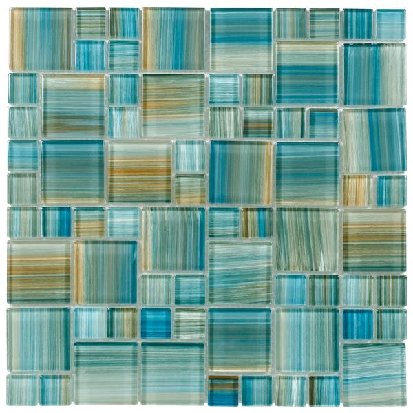 Aquamarine Brush Puzzle Glass Mosaic