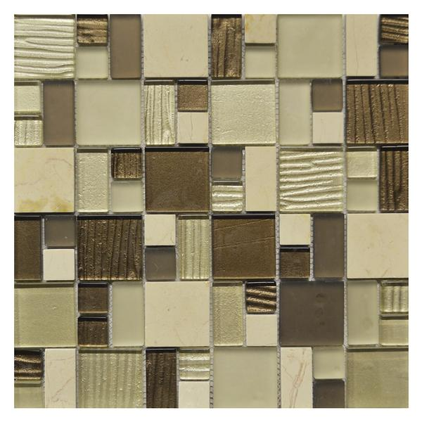Puzzle Beige Brown Glass Mosaic NO5501