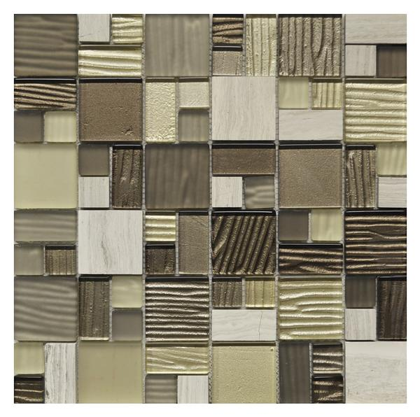 Puzzle Grey Brown Glass Mosaic NO5502