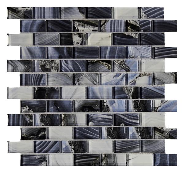 Agata Blue 1x2 Glass Mosaic 12x12