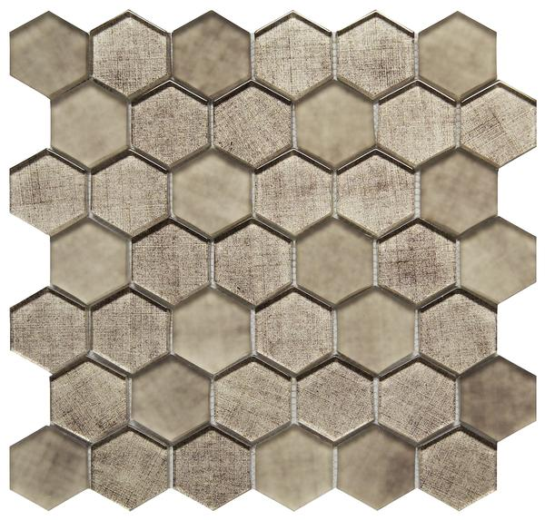 Taupe Fabric 2 inch Hexagon Glass Mosaic 12x12