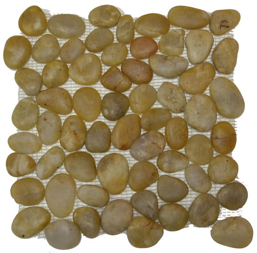 Rounded Pebble Stone High Polish Yellow Mosaic