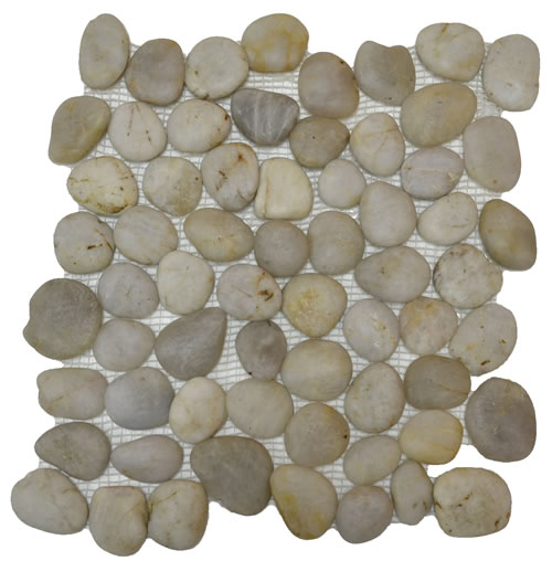 Rounded Pebble Stone High Polish White Mosaic