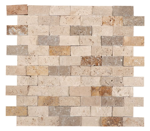 Classic Gold and Noce Travertine Mix 1x2 Unfilled Split Face Mosaic