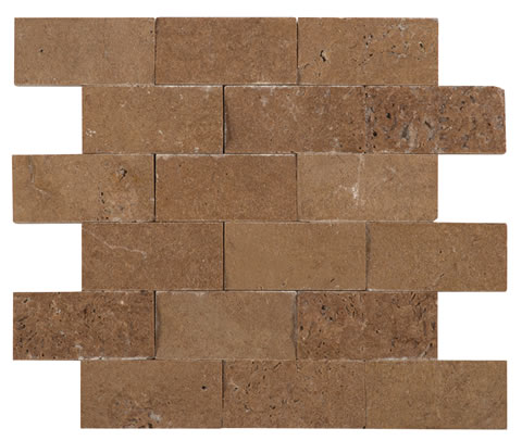 Noce Travertine 2x4 Unfilled Split Face Mosaic2