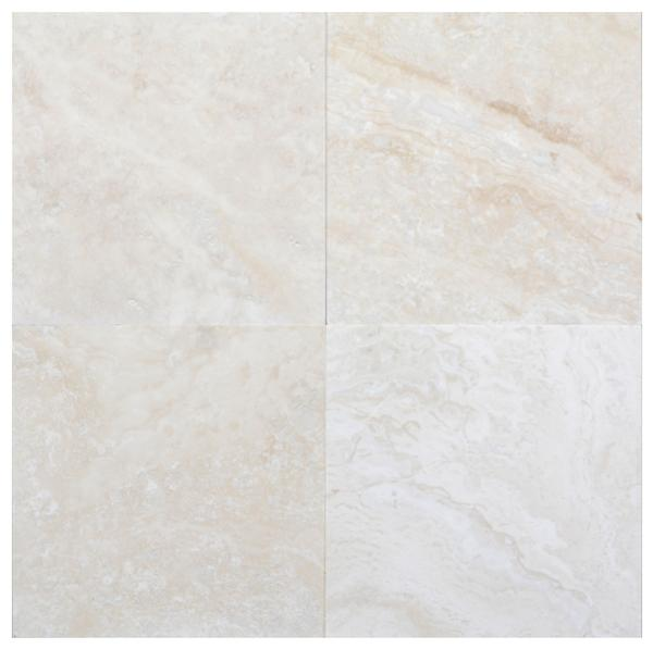 Cascade White Honed & Filled Travertine 12x12