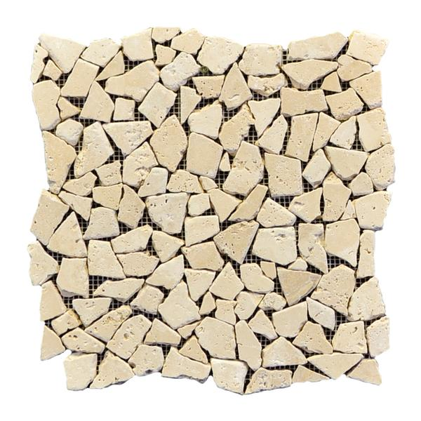Classic Travertine Broken Interlock Tumbled Mosaic 12x12