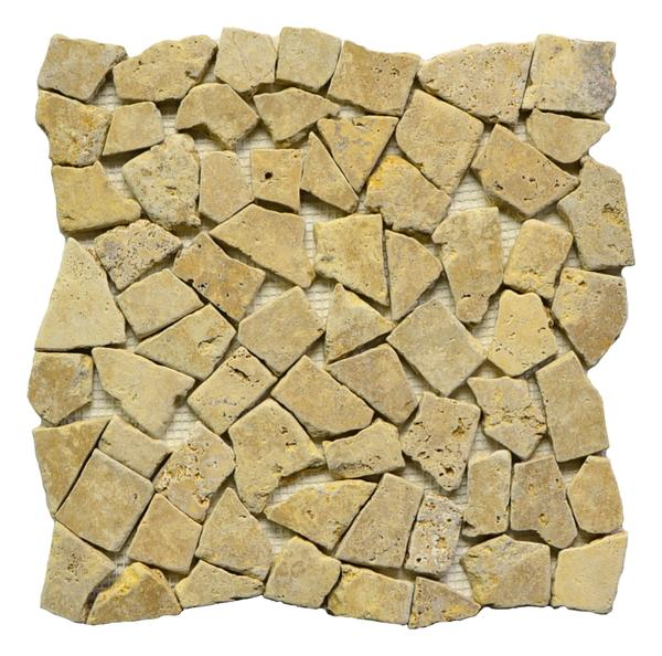 Antique Gold Travertine Broken Interlck UF Tumbled Mosaic 12x12