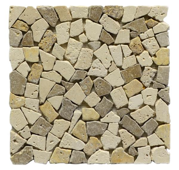 Cl&Go&No Mix Broken Interlck UF Tumbled Mosaic Travertine Tile 12x12