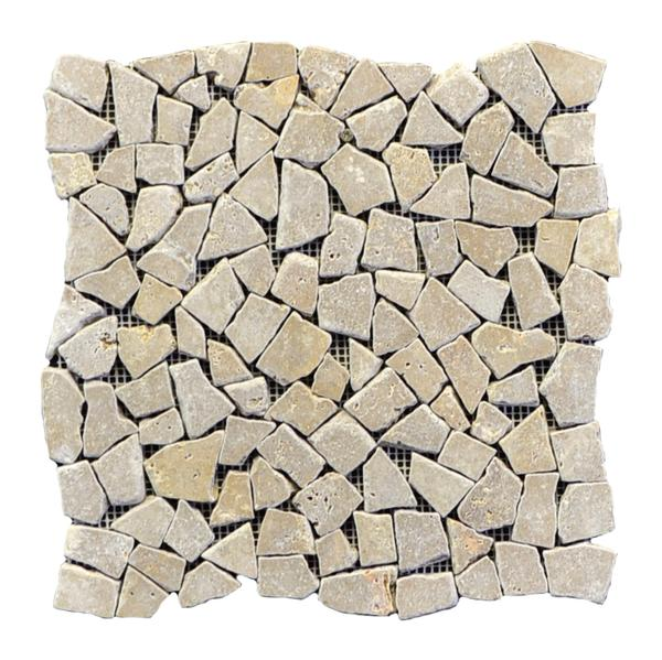 Noce Travertine Broken Interlock UF Tumbled Mosaic 12x12