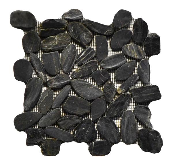 Flat Pebble Stone Polished Black Mosaic