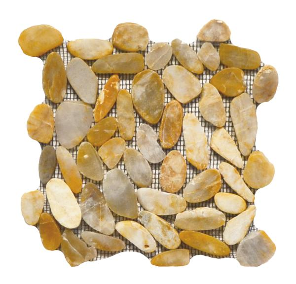 Flat Pebble Stone Polished Mosaic Honey