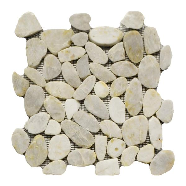Flat Pebble Stone Polished Mosaic Ivory