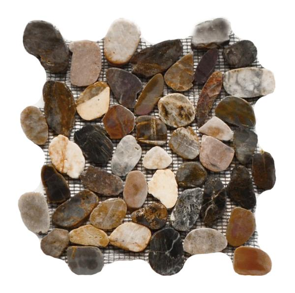 Flat Pebble Stone Polished Mosaic Multi Color