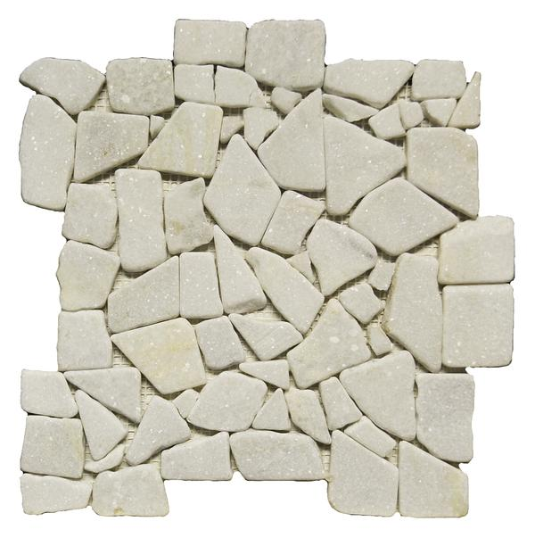 Marmol Snow White Tumbled Mosaic